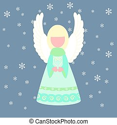 Christmas angel illustration on the blue background. Vector...