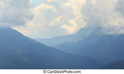 The tops of the clouds. TimeLapse. Ridge Aibga, Rosa Khutor,...