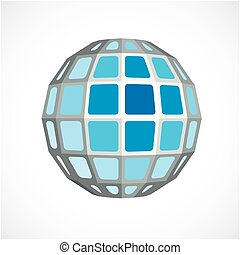 Blue dimensional vector low poly object, trigonometry shape....