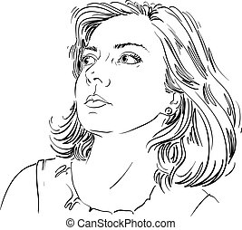 Graphic vector hand-drawn illustration of white skin...