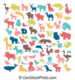 Big set of animals silhouettes in cartoon style. Wild life....