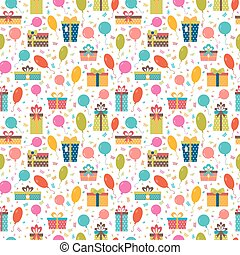 Birthday background. Seamless pattern with colorful gift boxes, confetti and balloons