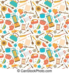 Cute seamless pattern with kitchen tools. Cooking utensils...