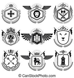 Heraldic emblems isolated vector illustrations. Collection...