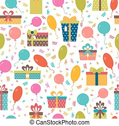 Seamless pattern with colorful gift boxes, confetti and balloons. Birthday background