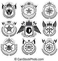 Heraldic signs vector vintage elements. Collection of...