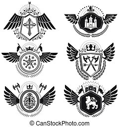 Heraldic signs vector vintage elements. Collection of symbols in vintage style.