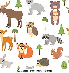 Seamless pattern with cute forest animals and trees