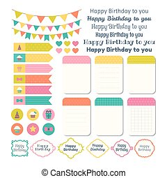 Set of Birthday party design elements. Template for notebooks. Monthly planner. Notes, stickers, labels