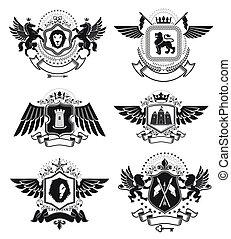 Luxury heraldic vectors emblem templates. Vector blazons....