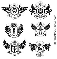 Heraldic Coat of Arms decorative emblems isolated vector...
