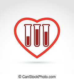 Donor blood heart and Circulatory system icon, test tube,...