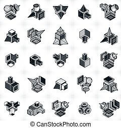 Engineering abstract geometric shapes, simple vectors set.