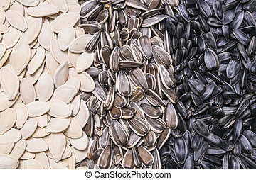 sunflower seeds and pumpkin seeds background, texture