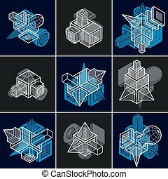 Abstract vectors, 3D simple geometric shapes set.