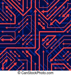 Vector digital technology background with sparkling circuit...