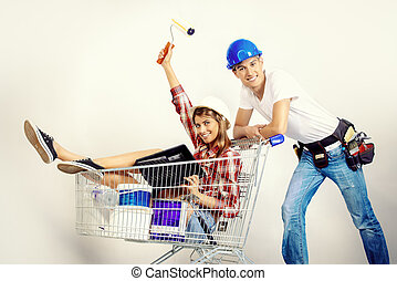 home for young family - Happy young couple went shopping for...