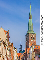 Tower of St. Jacobs church in the historical city of Lubeck,...