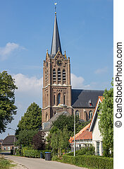 Church tower in the center of Maasbommel