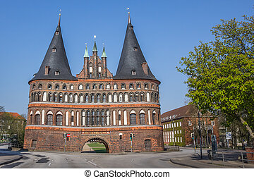 Back of the Holstein gate in Lubeck, Germany