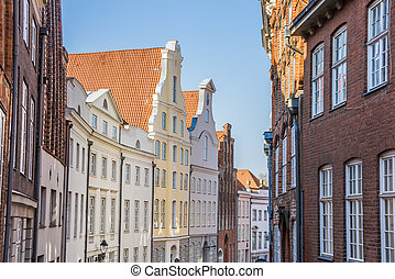 Historic facades in the center of Lubeck, Germany
