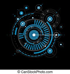 Geometric technological blue vector drawing, technical wallpaper. Abstract scheme of engine or engineering mechanism.