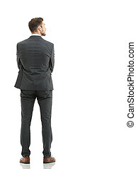 Portrait of the young  turned businessman isolated on a white ba