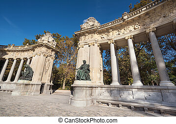 Alfonso XII monument in Retiro park, Madrid, Spain.