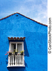 Blue Colonial Architecture - Blue colonial architecture in...