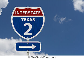 USA Interstate 2 highway sign, Red, white and blue...