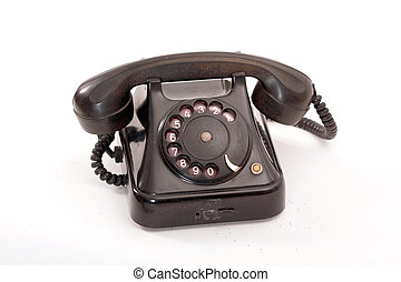old black phone on white - picture of an old black phone on...
