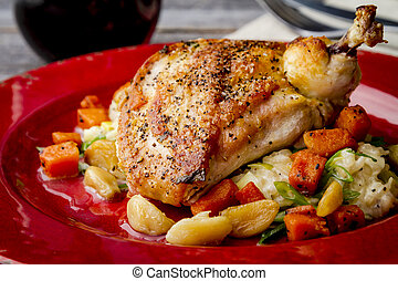 Spinach Stuffed Chicken with Butternut Squash - Close up of...
