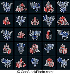 Set of isometric abstract vector geometric shapes.