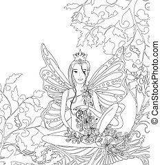 Adult coloring book page,isolated fairy lady with butterfly wings. Zentangle style art. Black and white monochrome graphic.