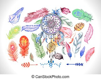 Dreamcatcher on the colorful feathers background