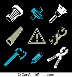 Set of 3d detailed tools, repair theme stylized graphic...