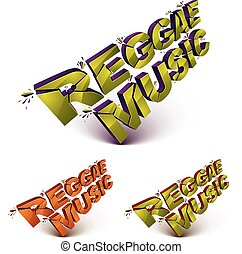 Collection of 3d reggae music word broken into pieces,...