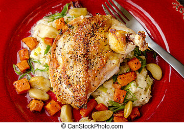 Spinach Stuffed Chicken with Butternut Squash - Rustic red...