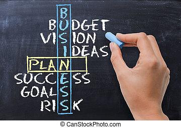 mots croisés,  plan,  Business, tableau noir