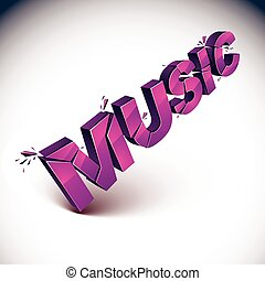 3d music word broken into pieces, demolished vector design elements. Shattered magenta art stylish inscription
