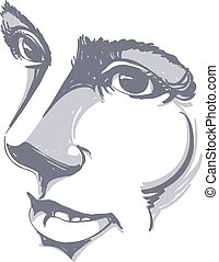 Vector drawing of pensive woman thinking about something....