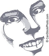 Facial expression, hand-drawn illustration of face of a girl...