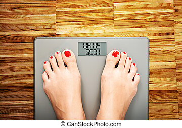 Lose weight concept with person on a scale measuring...