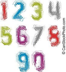 Handwritten colorful vector freak numbers, stylish striped...
