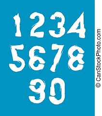 Handwritten white vector numbers, stylish numbers set drawn...