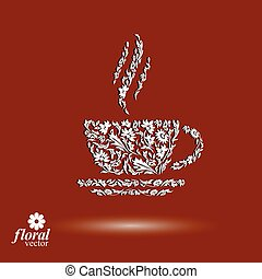 Flower-patterned cup of coffee with aromatic steam....