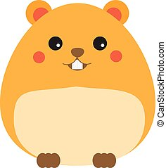 Cute kawaii hamster cahracter. Children style, vector...