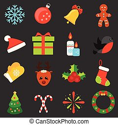 Christmas and new year icons. Vector set of winter holidays symbols