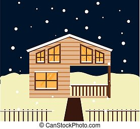 Real estate winter night scene. House, cottage, townhouse, sweet home vector illustration with snowfall