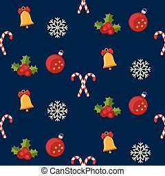 Christmas seamless pattern with new year holidays symbols